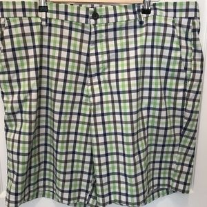Chaps Golf 78  Shorts Flat Front Blue Green Plaid